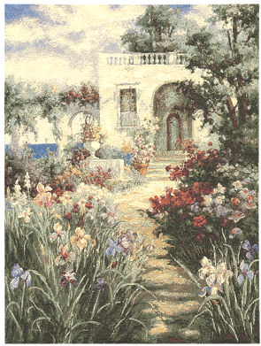 Landscape Tapestry Wall Hanging - Garden Scene With Patio, 37in X 28in