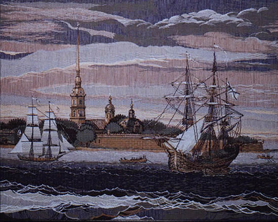 European Wall Tapestry inFortress And Sailing Shipsin, 26in X 21in