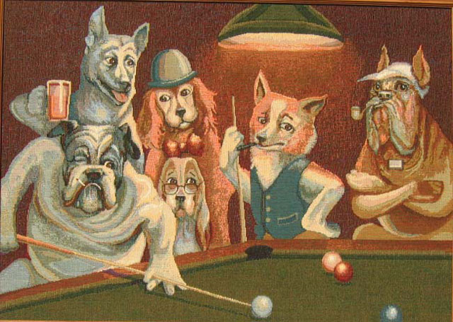 Dogs Playing Pool Picture Tapestry Wall Hangings