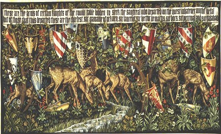 Arthurian Tapestry Verdure With Shields & Deer - Picture Of Medieval Knights - The Holy Grail, 52in x 90in