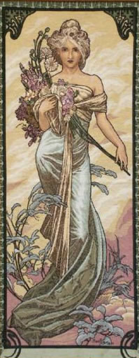 Large Tapestry Spring By Alphonse Mucha - Four Seasons Mucha Reproduction, 19in X 45in