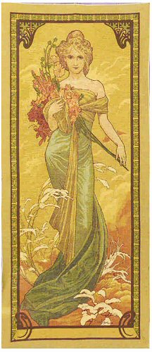 Large Tapestry Spring By Alphonse Mucha - Four Seasons Mucha Reproduction, 29in X 65in
