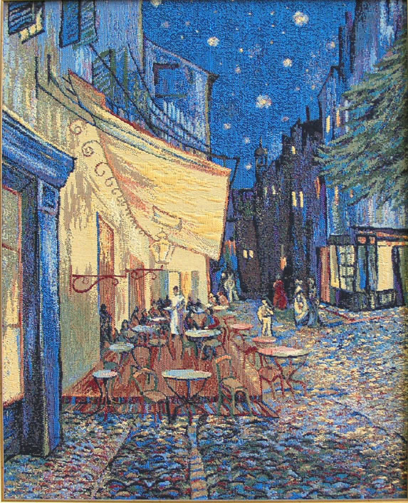 Van Gogh Painting Tapestry Wall Hanging Reproduction The Café, Terrace At Night, 22in X 26in