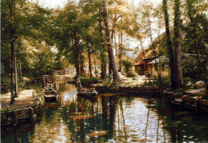 Large Wall Tapestry Cabin In Forest, Boats On The Lake, 28in X 42in