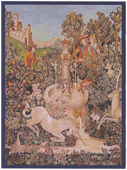 UNICORN TAPESTRY WALL HANGING - PICTURE Unicorn At The Fountain (One Of The Famous Medieval Tapestries)
