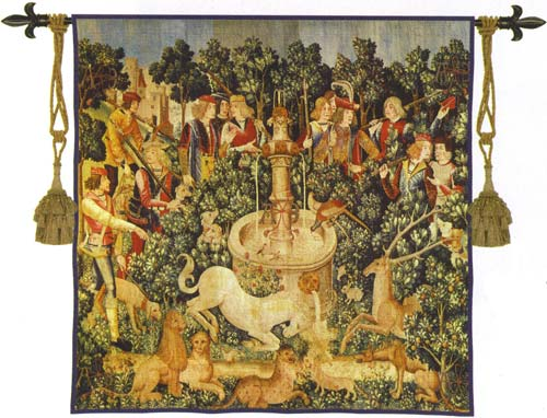 Unicorn Dips His Horn Medieval Tapestry Wall Hanging, 53in X 53in