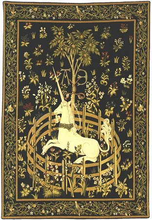 UNICORN TAPESTRY WALL HANGING - PICTURE UNICORN IN CAPTIVITY (One Of The Famous Medieval Tapestries)