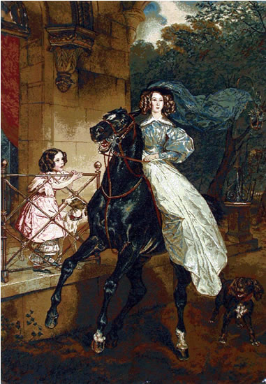 Large Wall Tapestry Reproduction Lady On Horseback, Briullov, 28.5in X 41.5in