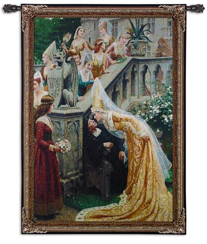 A Kiss Romantic Tapestry Wall Hanging - from a painting of Leighton, 31in x 38in