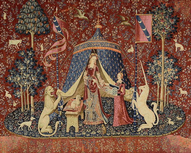 A Mon Seul Desir Bordless III Tapestry Wall Hanging, H40in x W56in