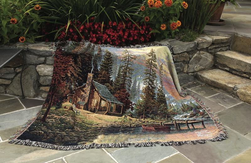 A Peaceful Retreat Scenic Tapestry Throw - Thomas Kinkade Painting, 51in X 68in