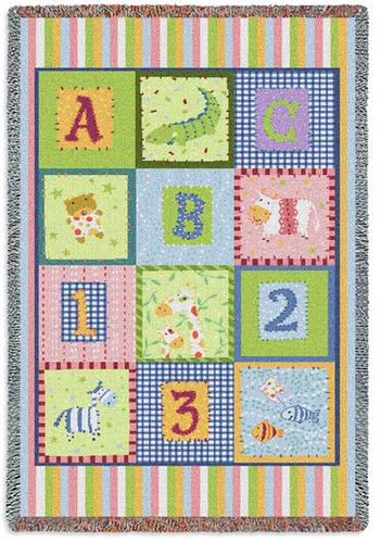 ABC123 Tapestry Throw, 34in x 53in