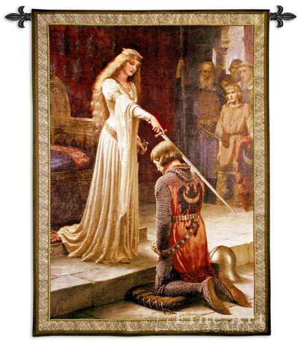 The Accolade Painting Medieval Tapestry Wall Hanging - Knighting Ceremony by Leighton, 52in x 71in