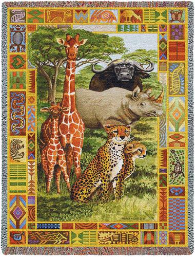 African Plains Tapestry Throw, 53in x 70in