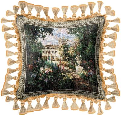 Aix en Provence Garden Tapestry Cushion - Scenery Picture, 17in x 17in