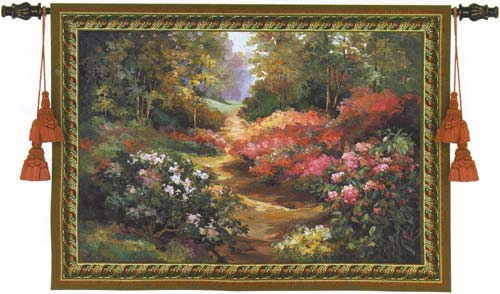 Along The Garden Path Landscape Wall Tapestry - Beautiful Garden Picture, 53in x 38in