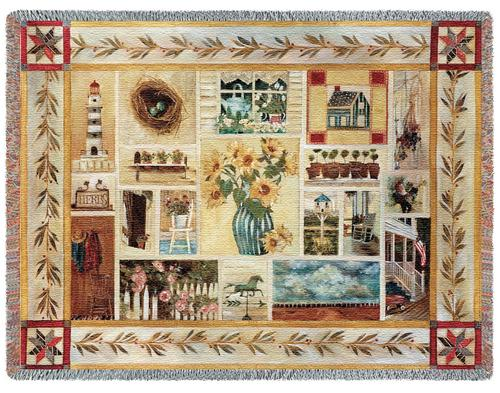 American Country Tapestry Throw, 53in x 70in
