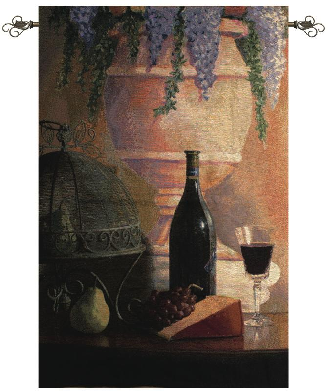 An Elegant Afternoon Gathering Wine Still Life Tapestry Wall Hanging, 35in X 53in