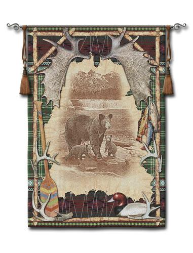 Antler Lodge Tapestry Wall Hanging, 53in x 77in