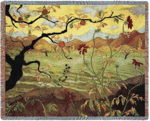 Apple Tree with Red Fruit Tapestry Throw, 54in x 70in