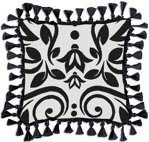 Arabella Ornamental Tapestry Cushion - Black-White Design, 17in x 17in