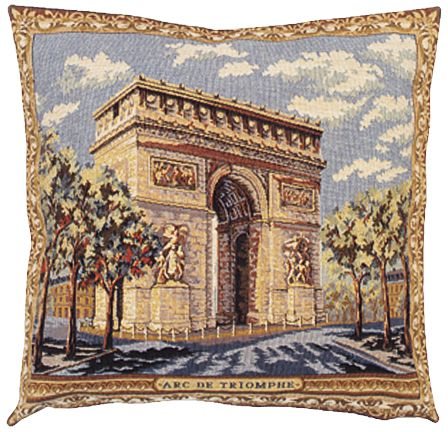 Arc De Triomphe II City View Tapestry Cushion Cover - European Home Decor Collection, 18in x 18in cushion cover