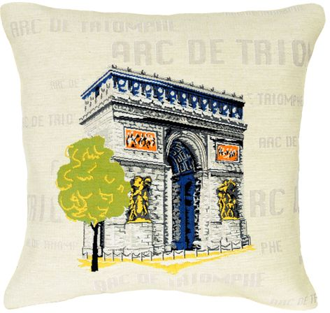 Arc De Triomphe City View Tapestry Cushion Cover - Pop Home Decor Collection, 18in x 18in cushion cover