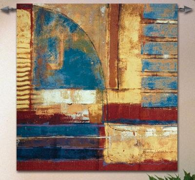 Arena 1 Contemporary Tapestry Wall Hanging - Abstract Collage, 53in x 53in