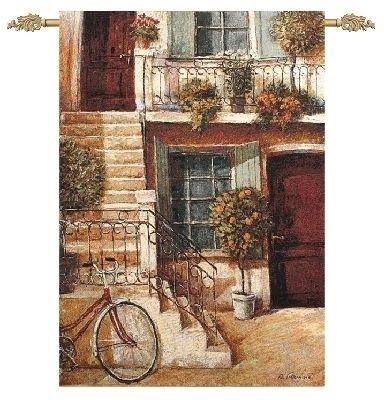 Around the Corner City Street Scene Tapestry Wall Hanging, 35in x 47in