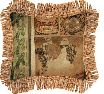 Arts & Crafts I Contemporary Tapestry Cushion - Botanical Collage, 27in x 27in