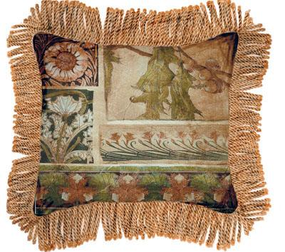 Arts & Crafts IV Contemporary Tapestry Cushion - Botanical Collage, 27in x 27in