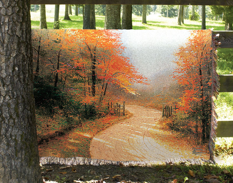 Autumn Lane Scenic Tapestry Throw - Impressionist Landscape, 50in X 60in