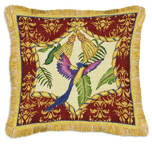 Aviary I Bird Tapestry Cushion - Tropical Style, 17in x 17in