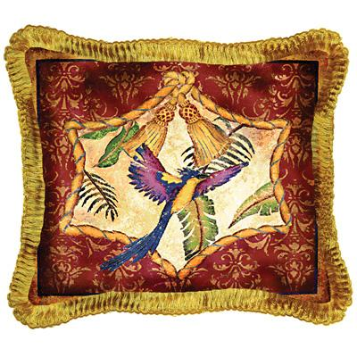 Aviary II Bird Tapestry Cushion - Tropical Style, 17in x 17in