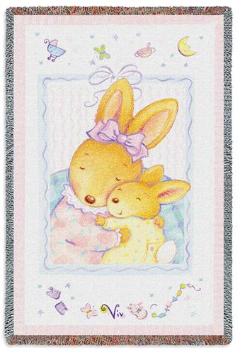 Baby Bunny Hugs Mini Tapestry Throw, 34in x 53in