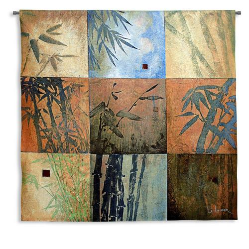 Bamboo Nine Patch Contemporary Wall Tapestry - Geometrical Botanical Design, 44in x 44in