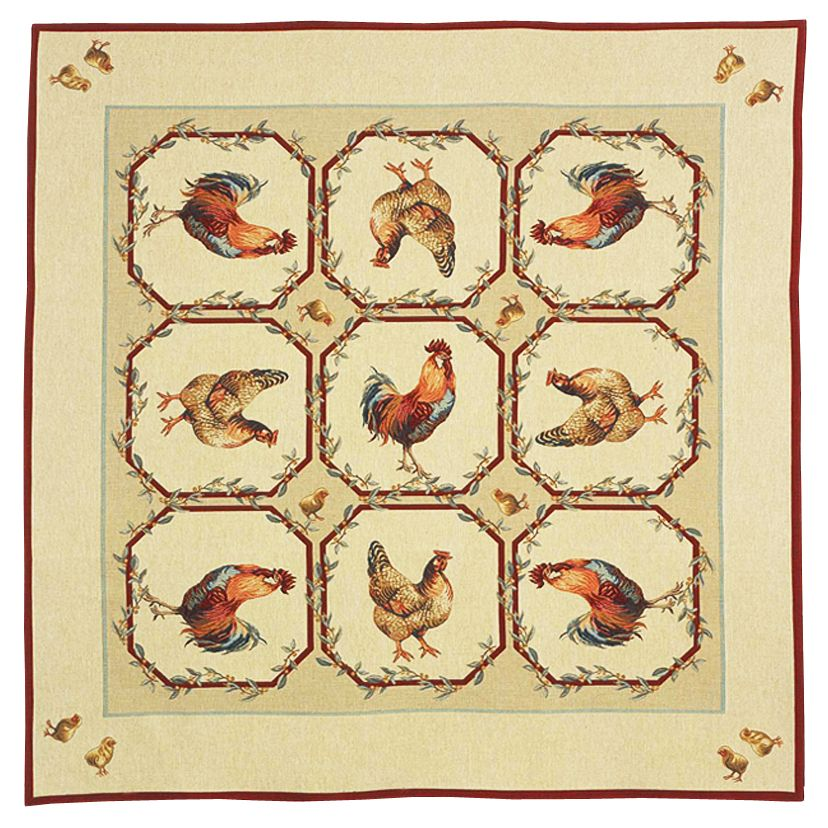 Basse Cour Tapestry Throw - European Home Decor Collection, 57in x 57in