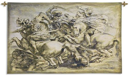 Battle of Anghiari Art Wall Tapestry - Rubens Reproduction, 62in x 38in