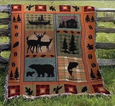 Bear Lodge Tapesty Throw, 51in x 68in