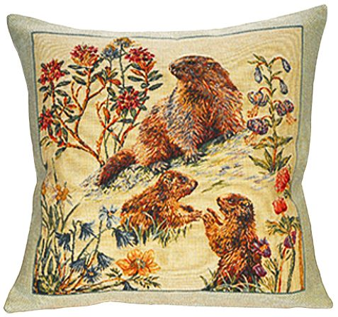 Bebes Marmottes Tapestry Cushion Cover - European Home Decor Collection, 18in x 18in cushion cover