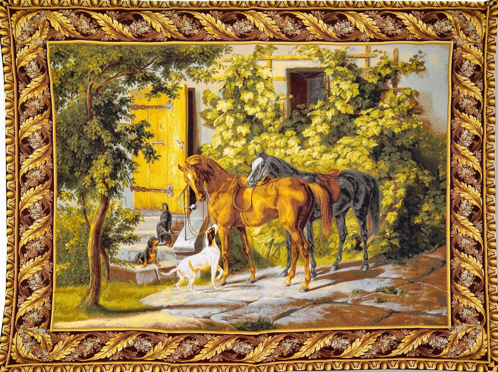 Before The Hunt Horse And Dog Tapestry Tapestry Wall Hanging, H53.2in x W70in