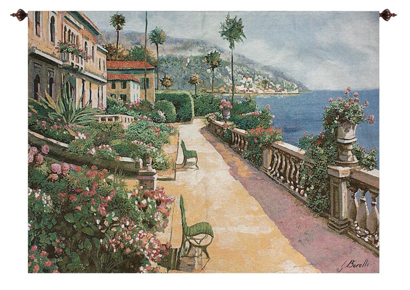 Bella Amalfi Mediterranean Terrace Tapestry Wall Hanging, 70in X 50in