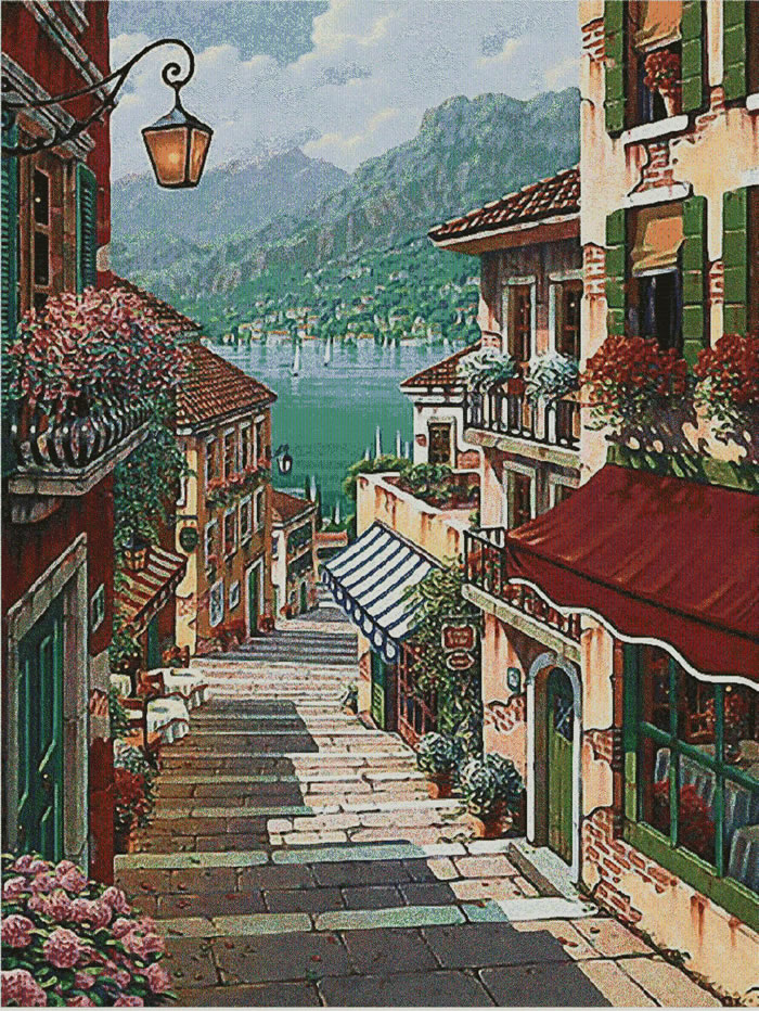 Bellagio Village Small III Tapestry Wall Hanging, H36in x W28in