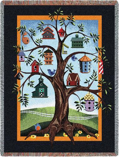 Birdhouse Tree Tapestry Throw, 54in x 70in