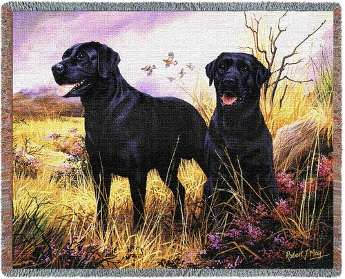 Black Lab Tapestry Throw, 70in x 53in