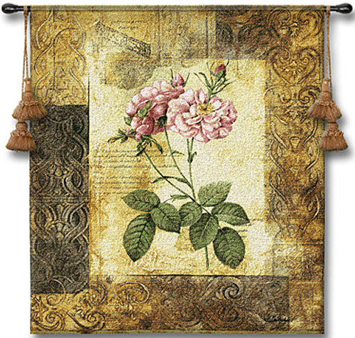Blossoming Elegance II Botanical Tapestry - Contermporary Floral Design, 26in x 32in