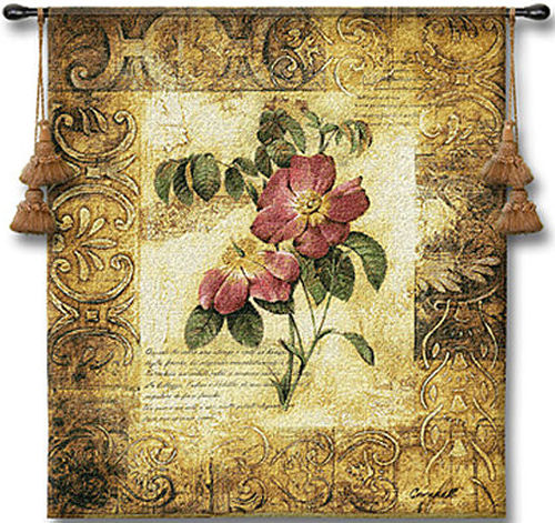 Blossoming Elegance III Botanical Tapestry - Contermporary Floral Design, 26in x 32in