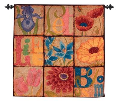 Blossoms Contemporary Tapestry Wall Hanging - Abstract Floral Design, 38in x 38in