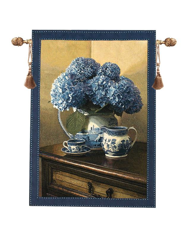 Blue Willow Tapestry Wall Hanging, 35in X 47in