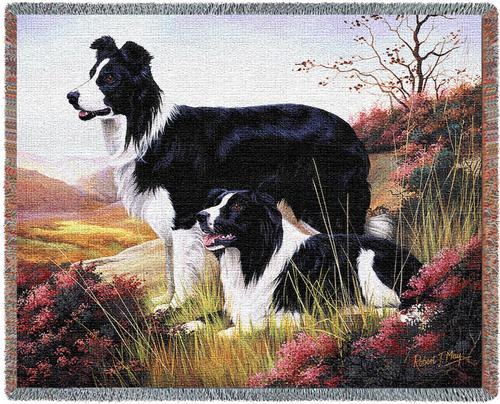 Border Collie Tapestry Throw, 70in x 53in